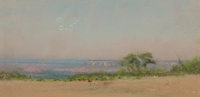 FRANK REAUGH (American, 1860-1945) Ducks and Waning Moon Pastel on grit paper 3-1/2 x 7 inches (8
