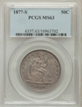 Seated Half Dollars: , 1877-S 50C MS63 PCGS. PCGS Population (79/116). NGC Census:(77/135). Mintage: 5,356,000. Numismedia Wsl. Price for problem...