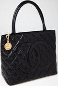 Luxury Accessories:Bags, Heritage Vintage: Chanel Black Caviar Leather Medallion Tote withBrushed Gold Hardware. ...