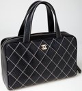 Luxury Accessories:Bags, Chanel Black Lambskin Leather Quilted Zip-Around Tote Bag. ...