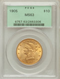 Liberty Eagles: , 1905 $10 MS63 PCGS. PCGS Population (210/103). NGC Census:(260/208). Mintage: 200,900. Numismedia Wsl. Price for problem f...