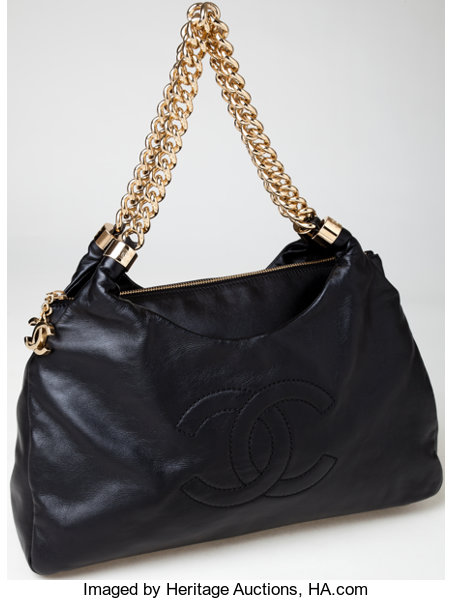 Chanel Black Lambskin Leather Rodeo Drive Hobo Bag with  3313e916ef0b1