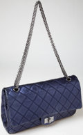 Luxury Accessories:Bags, Heritage Vintage: Chanel Special Reissue Dark Metallic Blue DoubleFlap Bag. ...