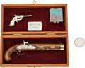Handguns:Muzzle loading, Lot of Two Miniature Pistols and One Box of Miniature Cartridges....