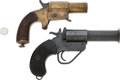 Handguns:Single Action Revolver, Lot of Two Assorted Flare Pistols.... (Total: 2 Items)