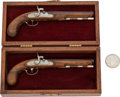 Handguns:Target / Single Shot Pistol, Matched Pair of Two Miniature Percussion Pistols....