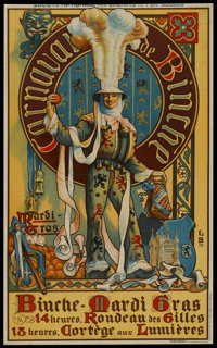"Advertising Poster (National Railway Company of Belgium, 1910). Railway Station Poster (23"" X 38"")"