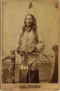 "Photography:Cabinet Photos, Cabinet Card Photograph by D. F. Barry of Lakota Indian ""LongFeather,"" ca. 1880s...."