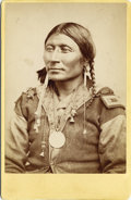 """Photography:Cabinet Photos, W. S. Soule Photograph of Indian Wearing """"Colonel"""" Shoulder Boardand Peace Medal, ca. 1880s...."""
