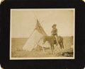 Photography:Cabinet Photos, Imperial Size Cabinet Card of Indian on Horse, ca. 1890s....