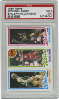 Basketball Cards:Singles (1980-Now), 1980-81 Topps Bird, Erving, Johnson PSA NM 7 (ST). Here we present the key to the experimental 1980-81 Topps basketball issu...