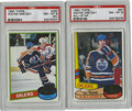 Hockey Cards:Lots, 1980-81 Topps Wayne Gretzky PSA NM-MT 8 Group Lot of 2. This pairof cards from the 1980-81 Topps hockey issue features the...