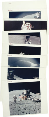 """Apollo 15 - Collection of Seventeen Official NASA Photos. Nine are 8"""" x 10"""" original color glossies with red N..."""