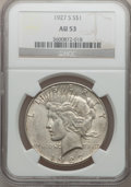 Peace Dollars: , 1927-S $1 AU53 NGC. NGC Census: (66/3097). PCGS Population(91/4550). Mintage: 866,000. Numismedia Wsl. Price for problem f...