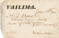 [Robert Louis Stevenson]. Vailima Delivery Card Signed