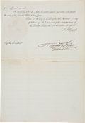 Autographs:U.S. Presidents, Ulysses S. Grant Extradition Order Signed...