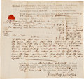 Autographs:Statesmen, Robert Treat Paine Autograph Document Signed....