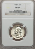 Washington Quarters: , 1939 25C MS64 NGC. NGC Census: (177/1392). PCGS Population(369/2092). Mintage: 33,548,796. Numismedia Wsl. Price for probl...