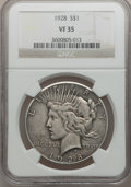Peace Dollars: , 1928 $1 VF35 NGC. NGC Census: (20/5621). PCGS Population (28/7734).Mintage: 360,649. Numismedia Wsl. Price for problem fre...