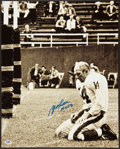 Football Collectibles:Photos, Y.A. Tittle Signed Oversized Photograph....