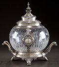 Silver Holloware, Continental, A GERMAN SILVER AND ETCHED GLASS COVERED PUNCH BOWL . Makerunknown, circa 1872-1901. Marks: 800M, JM, (Vienneseimporta...