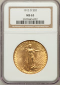 Saint-Gaudens Double Eagles: , 1913-D $20 MS63 NGC. NGC Census: (1081/993). PCGS Population(1214/1617). Mintage: 393,500. Numismedia Wsl. Price for probl...
