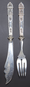Silver & Vertu:Flatware, A CASED TWENTY-FOUR PIECE F. MOSGAU GERMAN SILVER FRUIT SERVING SET . Franz Mosgau, Berlin, Germany, circa 1890. Marks: (cre... (Total: 24 Items)