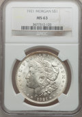 Morgan Dollars: , 1921 $1 MS63 NGC. NGC Census: (29646/42181). PCGS Population (26238/26738). Mintage: 44,690,000. Numismedia Wsl. Price for ...
