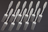 ELEVEN WHITING SILVER LILY OF THE VALLEY PATTERN DINNER FORKS Whiting Manufactur