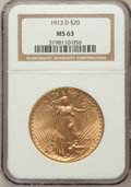 Saint-Gaudens Double Eagles: , 1913-D $20 MS63 NGC. NGC Census: (1081/993). PCGS Population(1214/1619). Mintage: 393,500. Numismedia Wsl. Price for probl...
