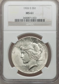 Peace Dollars: , 1926-S $1 MS61 NGC. NGC Census: (240/4265). PCGS Population(141/5778). Mintage: 6,980,000. Numismedia Wsl. Price for probl...