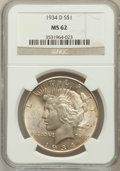 Peace Dollars: , 1934-D $1 MS62 NGC. NGC Census: (830/2146). PCGS Population(1001/3163). Mintage: 1,569,500. Numismedia Wsl. Price for prob...