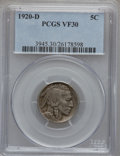 Buffalo Nickels: , 1920-D 5C VF30 PCGS. PCGS Population (31/644). NGC Census:(20/544). Mintage: 9,418,000. Numismedia Wsl. Price for problem ...