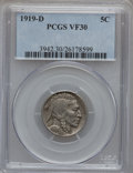 Buffalo Nickels: , 1919-D 5C VF30 PCGS. PCGS Population (33/657). NGC Census:(27/456). Mintage: 8,006,000. Numismedia Wsl. Price for problem ...