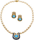 Estate Jewelry:Suites, Cultured Pearl, Sapphire, Topaz, Diamond, Gold Jewelry Suite,Adler. ...