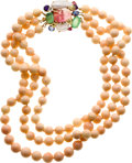 Estate Jewelry:Necklaces, Multi-Stone, Coral, Freshwater Cultured Pearl, Gold Brooch-Necklace. ...