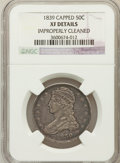 Reeded Edge Half Dollars: , 1839 50C -- Improperly Cleaned -- NGC Details. XF. NGC Census:(16/315). PCGS Population (37/333). Mintage: 1,392,976. Numi...