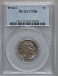 Buffalo Nickels: , 1920-S 5C VF20 PCGS. PCGS Population (21/776). NGC Census:(16/609). Mintage: 9,689,000. Numismedia Wsl. Price for problem ...