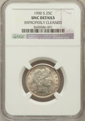 Barber Quarters: , 1900-S 25C -- Improperly Cleaned -- NGC Details. Unc. NGC Census:(0/40). PCGS Population (1/65). Mintage: 1,858,585. Numis...