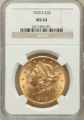 Liberty Double Eagles: , 1903-S $20 MS63 NGC. NGC Census: (1319/278). PCGS Population(1365/364). Mintage: 954,000. Numismedia Wsl. Price for proble...
