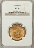 Indian Eagles: , 1914-S $10 AU58 NGC. NGC Census: (324/411). PCGS Population(183/418). Mintage: 208,000. Numismedia Wsl. Price for problem ...