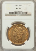 Liberty Double Eagles: , 1902 $20 AU53 NGC. NGC Census: (7/462). PCGS Population (12/520).Mintage: 31,140. Numismedia Wsl. Price for problem free N...