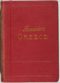 Books:Travels & Voyages, Karl Baedeker. Greece. Karl Baedeker, 1894. English text. Stiff cloth wrappers. Illustration and maps, some fold...