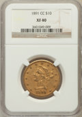 Liberty Eagles: , 1891-CC $10 XF40 NGC. NGC Census: (22/2267). PCGS Population(42/1921). Mintage: 103,732. Numismedia Wsl. Price for problem...