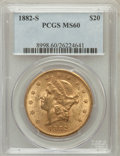 Liberty Double Eagles: , 1882-S $20 MS60 PCGS. PCGS Population (86/667). NGC Census:(200/573). Mintage: 1,125,000. Numismedia Wsl. Price for proble...