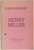 Books:Reference & Bibliography, [Henry Miller] Thomas H. Moore, editor. LIMITED Bibliography ofHenry Miller. Henry Miller Literary Society, 196...