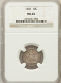 Seated Dimes, 1845 10C MS65 NGC. Fortin-103....