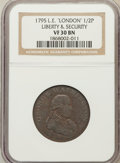 Colonials: , 1795 1/2P Washington Liberty & Security Halfpenny, LONDON EdgeVF30 NGC. NGC Census: (3/7). PCGS Population (1/50). (#755...