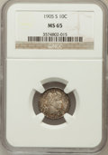 Barber Dimes: , 1905-S 10C MS65 NGC. NGC Census: (14/2). PCGS Population (19/12).Mintage: 6,855,199. Numismedia Wsl. Price for problem fre...
