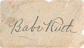 Autographs:Others, Circa 1940 Babe Ruth Signed Autograph....